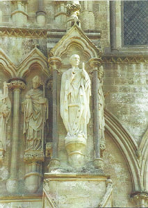 Statue of Aldhelm at Sailsbury cathedral
